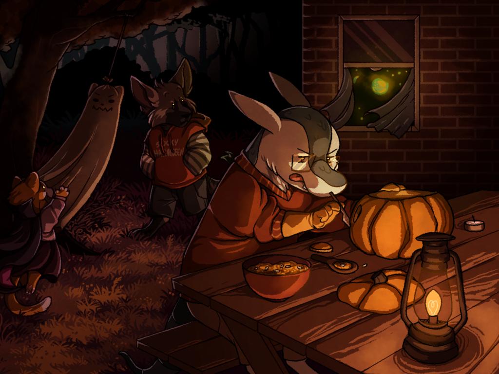 Seb carving a pumpkin while shenanigans happen around him