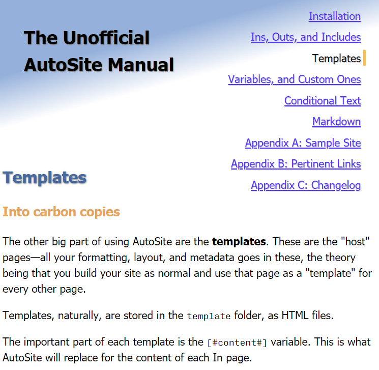 One of the AutoSite manual's pages