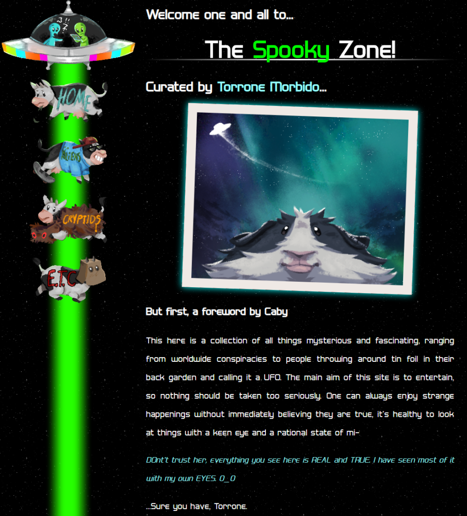 The frontpage of The Spooky Zone