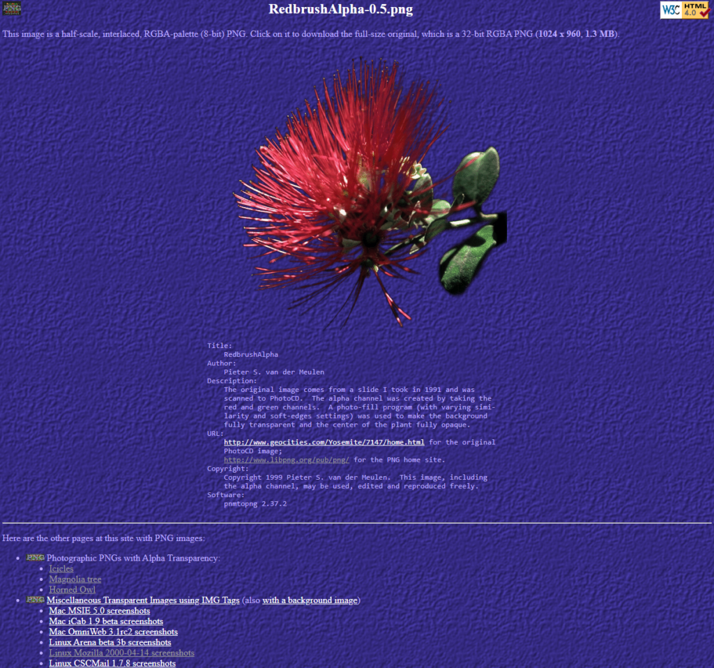 A screenshot of one of the pages on the libpng site