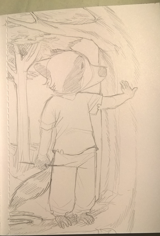 A traditional, unreleased Caby doodle of Colton standing in a tree