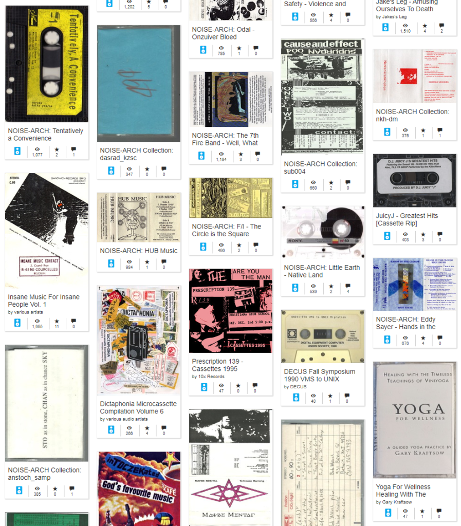 A sampling of the Internet Archive's batch of cassette transfers