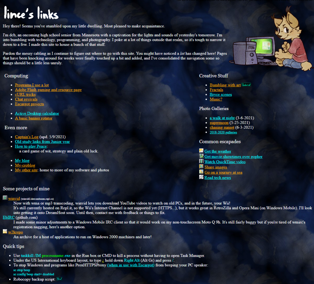 The new homepage for lince.somnol