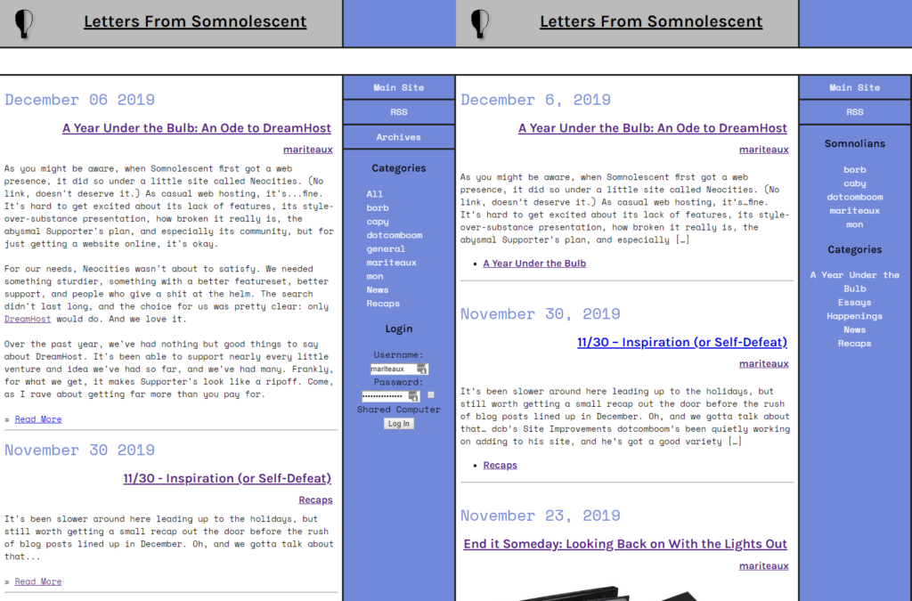 Nucleus on the left, WordPress on the right