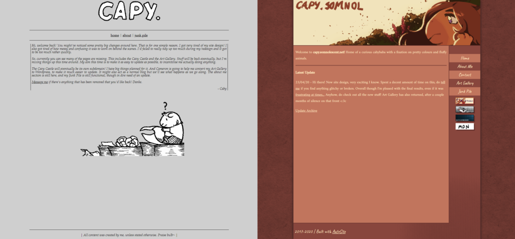 Caby's old site vs her new one