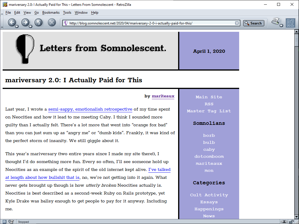 Letters from Somnolescent in Retrozilla